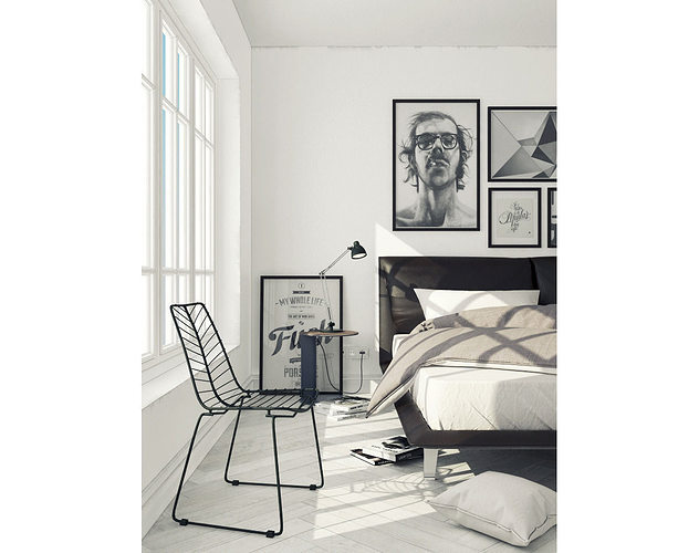 bedroom scandinavian 3d model max obj mtl 1