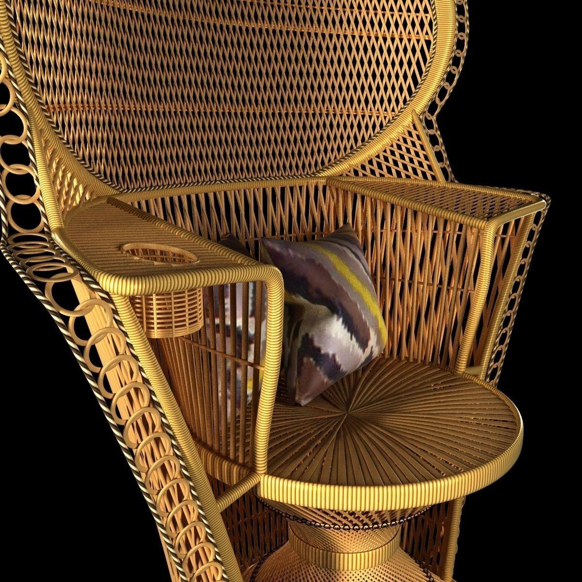 Vintage rattan chair -  Wicker Rattan Fan Back Peacock Chair Vintage 3d Model Max Obj 3ds Fbx Mtl 6