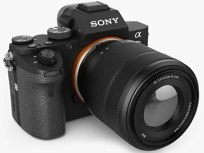 sony alpha 7 ii with two lenses 3d model max obj 3ds fbx c4d lwo lw lws 1