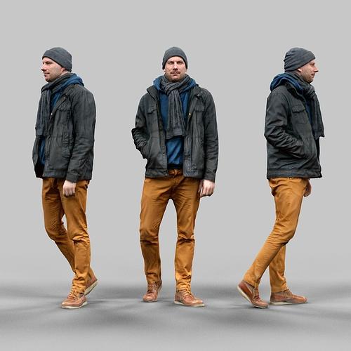 casual male walking pose 3d model obj mtl fbx tga 1