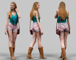 3D model Summer Girl Walking