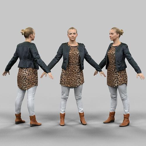 a-pose blonde woman 3d model obj mtl fbx 1