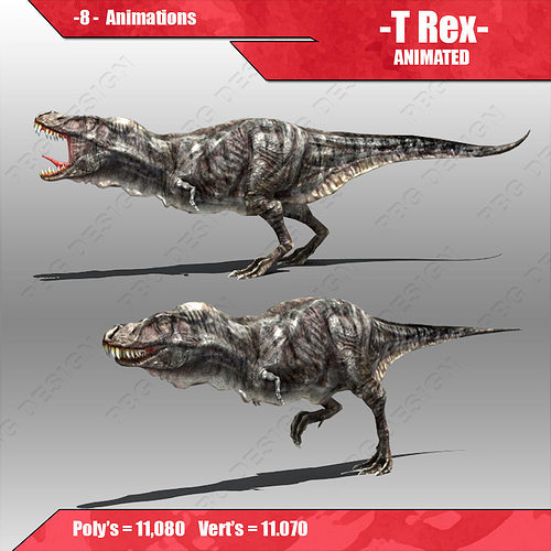 tyrannosaurus rex  3d model low-poly rigged animated max obj fbx mtl 1