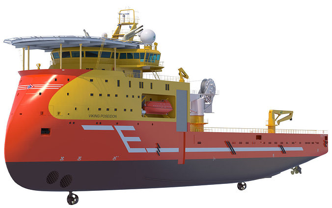 offshore construction vessel viking poseidon 3d model max obj mtl fbx lwo lw lws 1