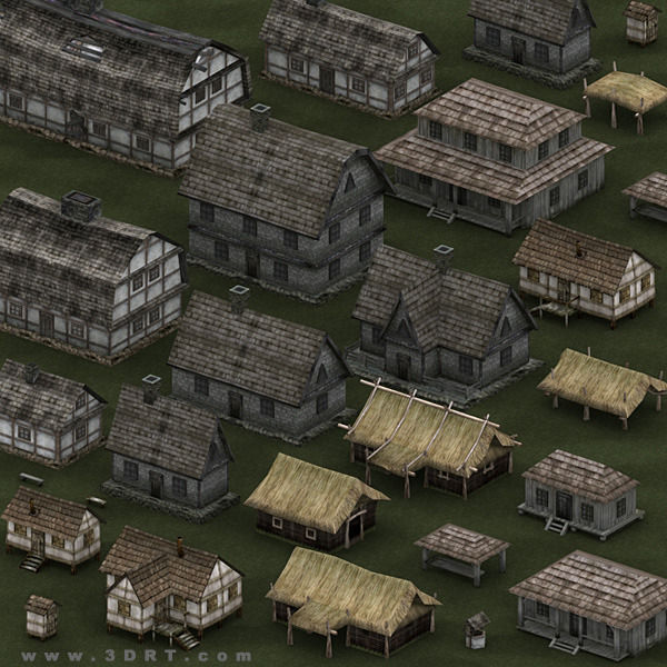 3d Model 3drt Medieval Houses Pack Vr Ar Low Poly