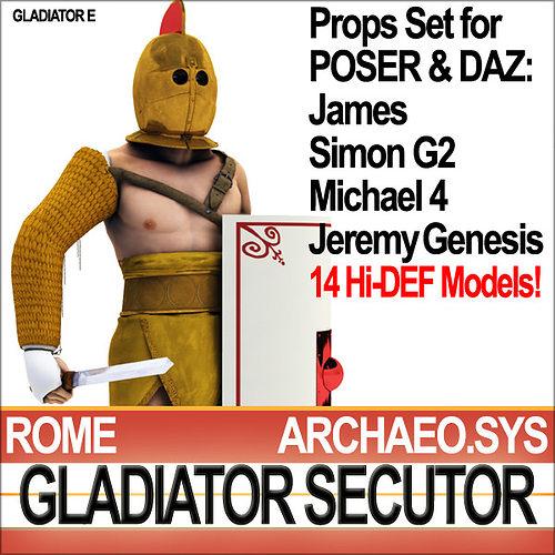 roman gladiator secutor props poser daz 3d model obj mtl 3ds c4d dxf vue pz3 pp2 1