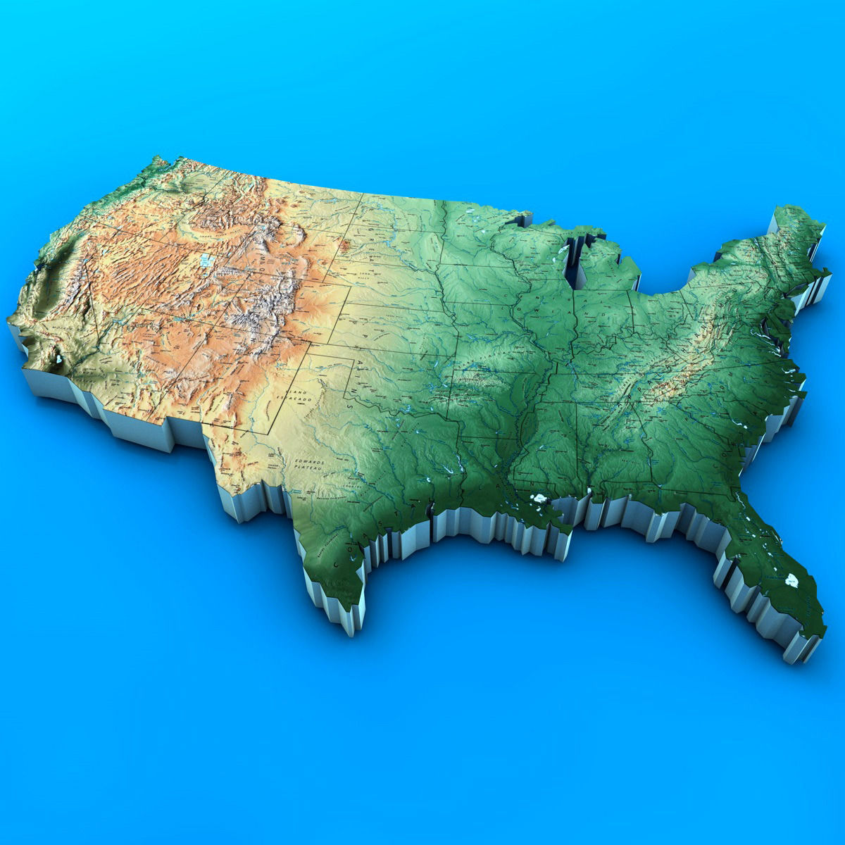 3D USA Map | CGTrader