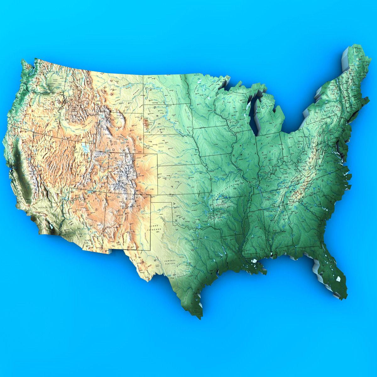 3D USA Map CGTrader