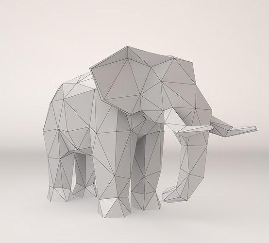 Low Poly Elephant 3d Model Max Obj 3ds Fbx Stl 6