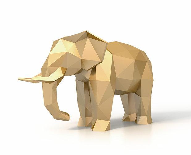 low poly elephant 3d model low-poly max obj mtl 3ds fbx stl 1
