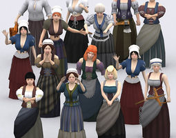 3drt - female peasants kit 3d model low-poly rigged animated