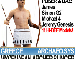 3d model greek mycenaean archer slinger props poser daz
