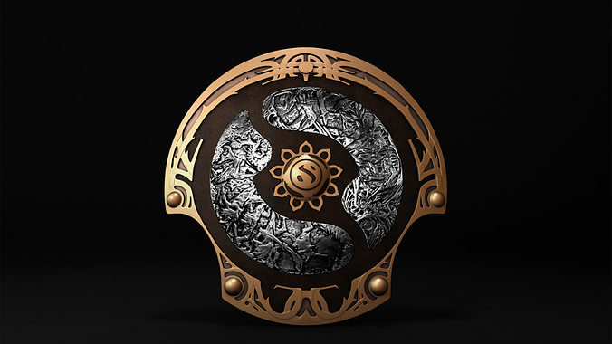 dota 2 championship shield 3d model low-poly obj fbx ma mb mtl 1