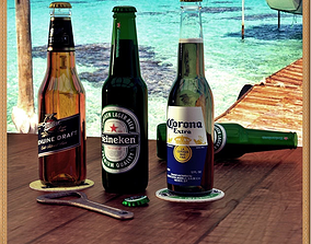 3D model realtime Beer Bottles