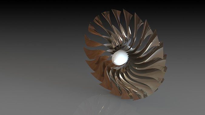 jet engine compressor turbine  3d model  1