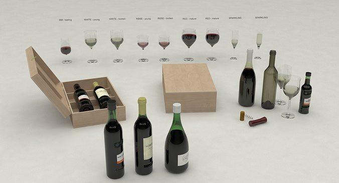 wine set 3d model obj mtl 3ds lwo lw lws 3dm skp 1
