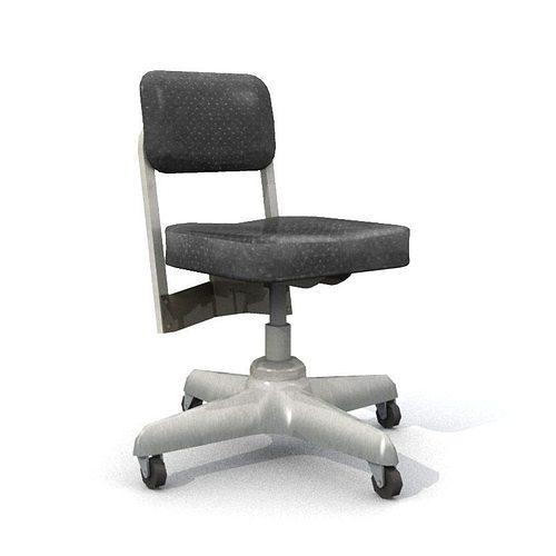 old office chair 3d model low-poly obj fbx lwo lw lws mtl 1