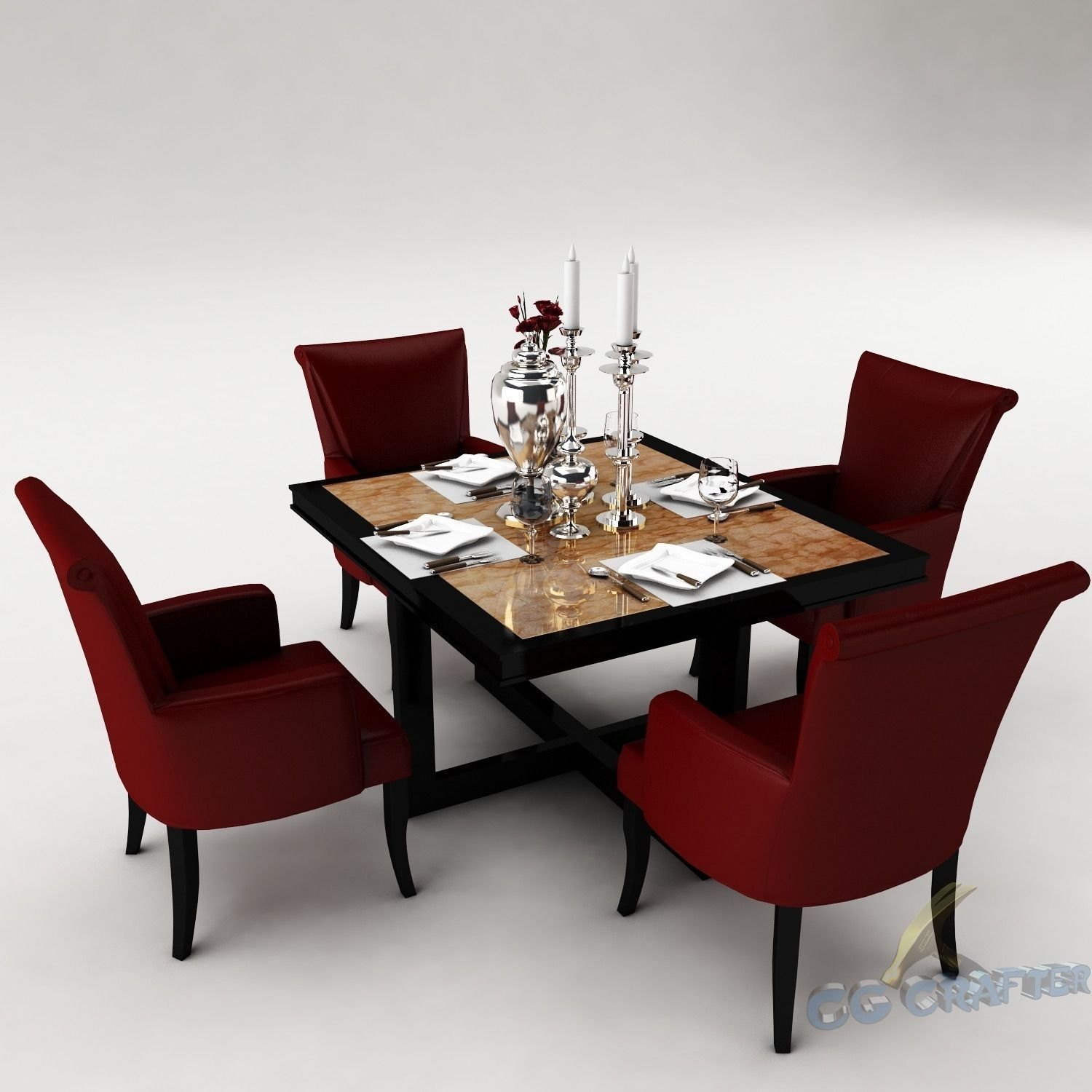 Dining Table Models dining table set 3d model room | cgtrader