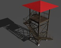 game-ready guard tower 3d model