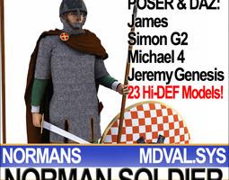 3d model medieval norman soldier props poser daz