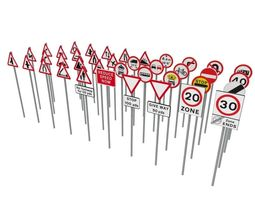 uk road signs 3d model game-ready