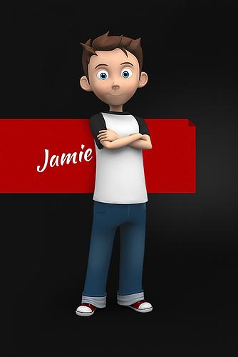 jamie toon kid character 3d model max obj mtl 3ds fbx ma mb 1