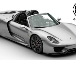 3d porsche 918 spyder including detachable roof