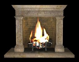 3D asset Antique Fireplace
