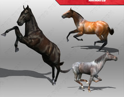 horse animated low-poly 3d asset