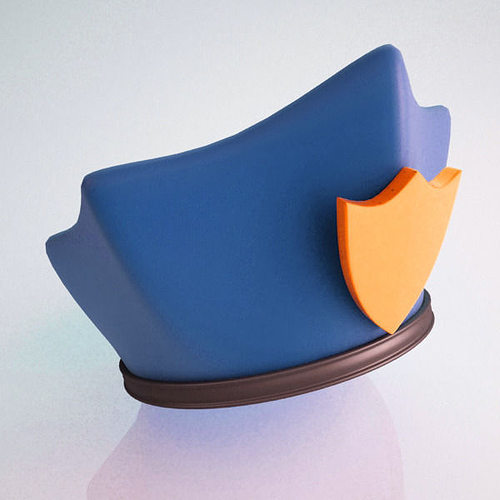 police hat cartoon 3d model max obj ma mb stl 1