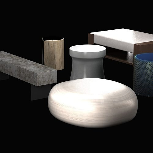 3D model Pouf and table collection | CGTrader