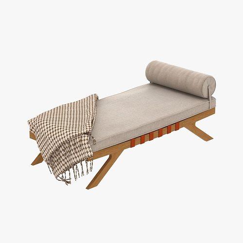 mid century chaise lounge 3d model max obj 3ds fbx mtl unitypackage 1