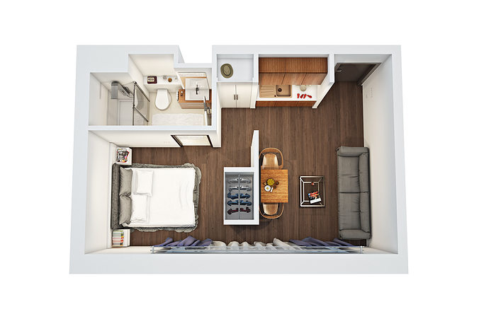 3d floor plan 2 cgtrader for Turn floor plan into 3d model