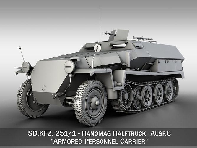 sd kfz 251 1 - ausf c - hanomag halftruck 3d model obj 3ds fbx c4d lwo lw lws mtl 1