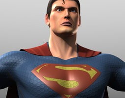 man of steel costume 3d asset game-ready