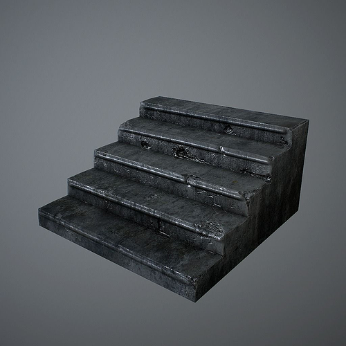old stairs 3d model low-poly obj fbx c4d lwo lw lws lxo lxl mtl 1