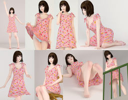 sexy 8 poses of Mariko in pink dress 3D