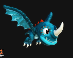 animated 3d model cartoon dragon low-poly