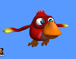 realtime animated 3d asset red cartoon bird