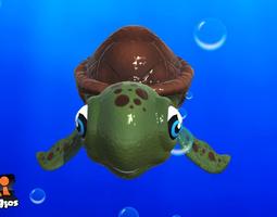 cartoon sea turtle animated 3d model game-ready
