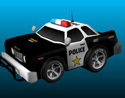 cartoon police car 3d model low-poly ma mb unitypackage