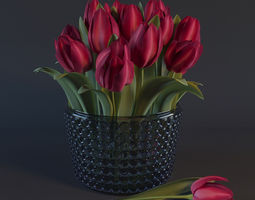 Red tulips 3D