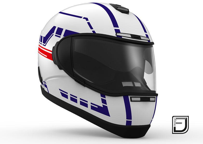 White Helmet H06 3d Motorcycle