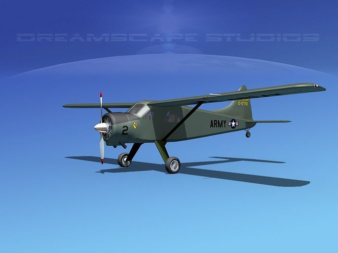 dehaviland dh-2 beaver us army 4 3d model max obj mtl 3ds lwo lw lws dxf stl 1