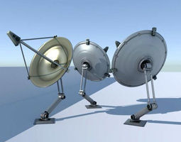 low-poly rigged satellite dishes animated 3d asset