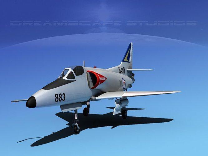 douglas a-4d skyhawk v09 ran 3d model max obj 3ds lwo lw lws dxf stl 1