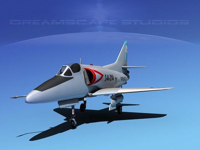 douglas a-4d skyhawk argentina 3d model max obj mtl 3ds lwo lw lws dxf stl 1
