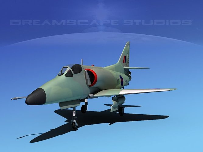 douglas a-4d skyhawk v15 rnzn 3d model rigged max obj 3ds lwo lw lws dxf stl 1