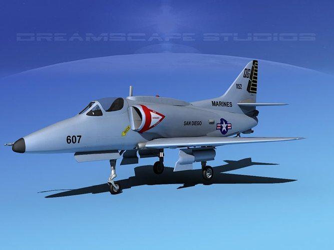 douglas a-4g skyhawk v03 usmc 3d model max obj mtl 3ds lwo lw lws dxf stl 1