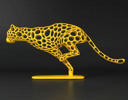 3d print model cheetah voronoi wireframe